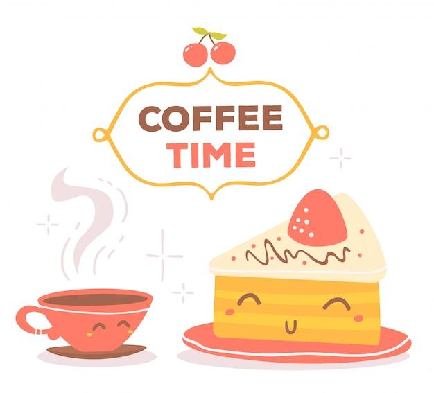 화려한 빨간색과 노란색 커피 테마 흰색 배경에 고립 된 프레임에 갈색 텍스트로 개체를 미소.