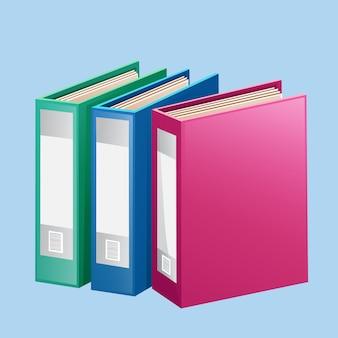 Colorful red blue green folder binder