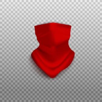 투명 한 배경에 고립 된 화려한 붉은 얼굴 스카프 두건 모형