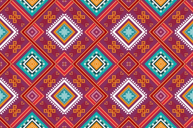 Colorful red purple cross weaves ethnic geometric oriental seamless traditional pattern. design for background, carpet, wallpaper backdrop, clothing, wrapping, batik, fabric. embroidery style. vector