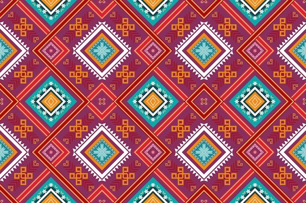 カラフルな赤紫の十字架は、民族の幾何学的な東洋のシームレスな伝統的なパターンを織ります。背景、カーペット、壁紙の背景、衣類、ラッピング、バティック、ファブリックのデザイン。刺繡スタイル。ベクター