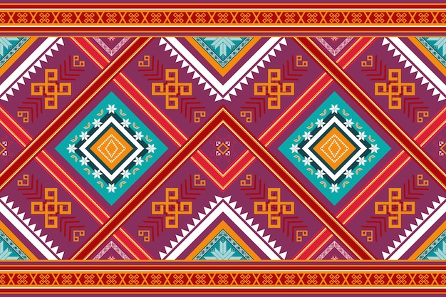 Colorful red purple yellow ethnic geometric oriental seamless traditional pattern. design for background, carpet, wallpaper backdrop, clothing, wrapping, batik, fabric. embroidery style. vector