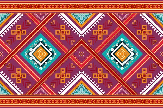 カラフルな赤紫黄色民族幾何学的な東洋のシームレスな伝統的なパターン。背景、カーペット、壁紙の背景、衣類、ラッピング、バティック、ファブリックのデザイン。刺繡スタイル。ベクター