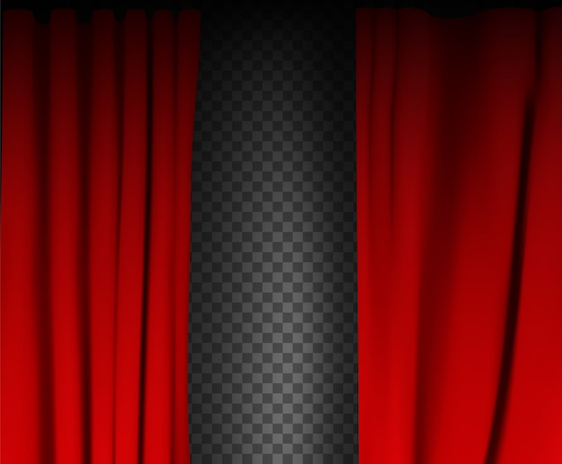 Красочный красный бархатный занавес, сложенный на прозрачном фоне