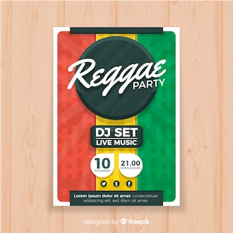 Colorful reggae party poster with flat design