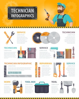 Colorful repair service infographics