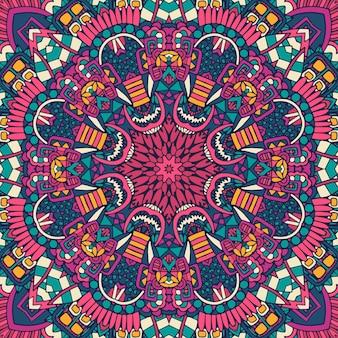 カラフルな繰り返し曼荼羅zentangleパターン