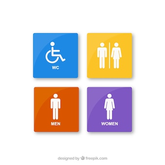 Colorful rest room icons