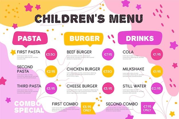 Modello di menu ristorante colorato in formato orizzontale
