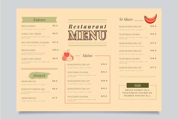 Colorful restaurant menu template theme