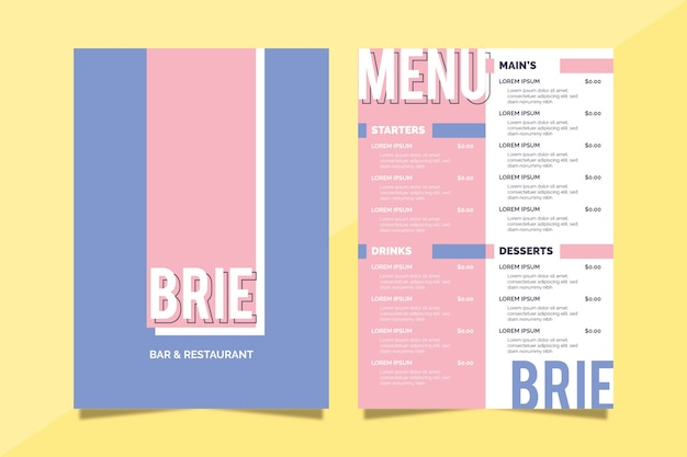 Colorful restaurant menu template