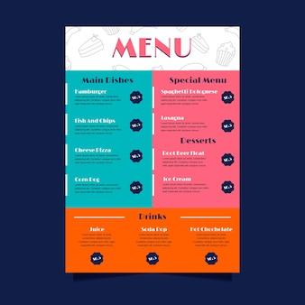 Colorful restaurant menu template