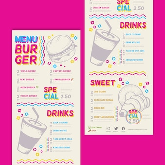 Colorful restaurant menu with burgers