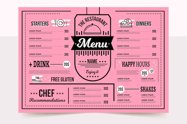 Colorful restaurant menu with chefs special