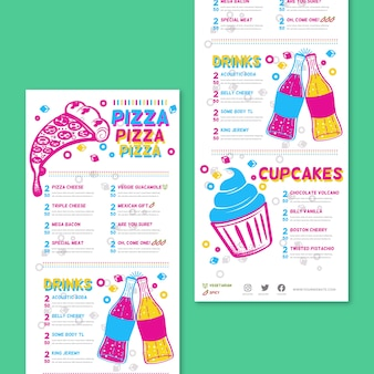 Colorful restaurant menu with pizza