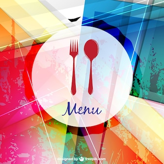 Colorful restaurant menu with a spoon and a fork