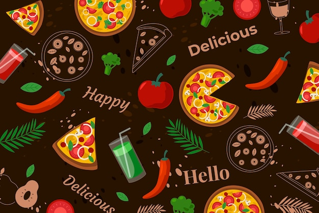 Colorful restaurant mural wallpaper