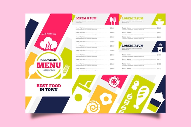 Colorful restaurant template menu