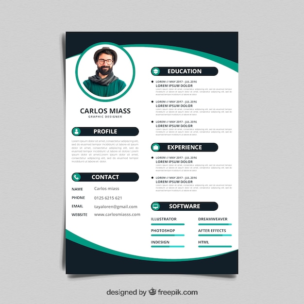 Free Colorful Resume Template SVG DXF EPS PNG