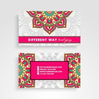 Colorful retro business card with mandala decoration