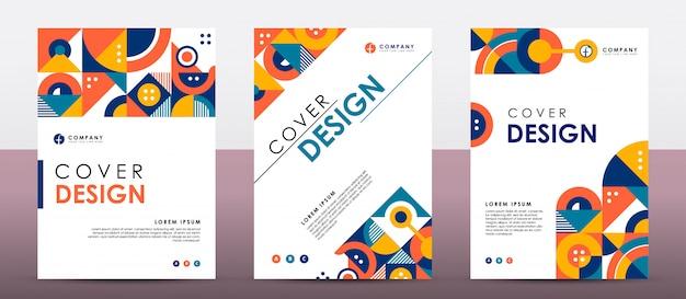 Colorful retro cover  template