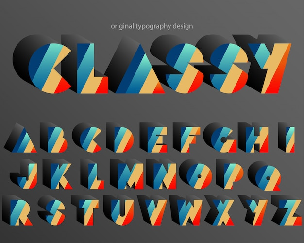 Colorful retro extra bold typography design font