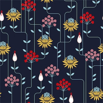 Colorful retro flower seamless pattern, vintage style. design for fashion on fabrics, textile, paper, wallpaper