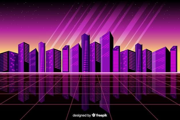 Colorful retro futuristic landscape background