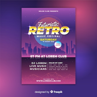 Colorful retro futuristic music poster template