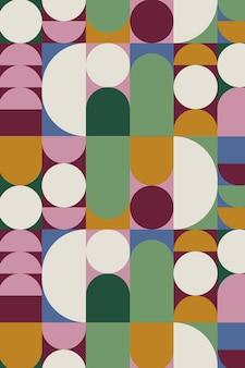 円の形でカラフルなレトロな幾何学模様のベクトル