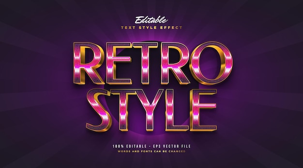 Colorful retro and gold text style with 3d effect. editable text style effect