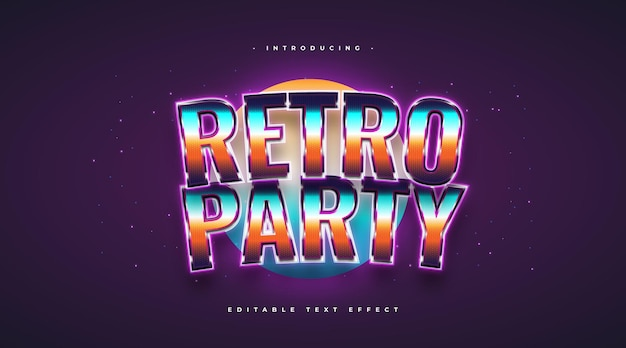 Colorful retro party text style with glitter and glowing effect. editable text style effect
