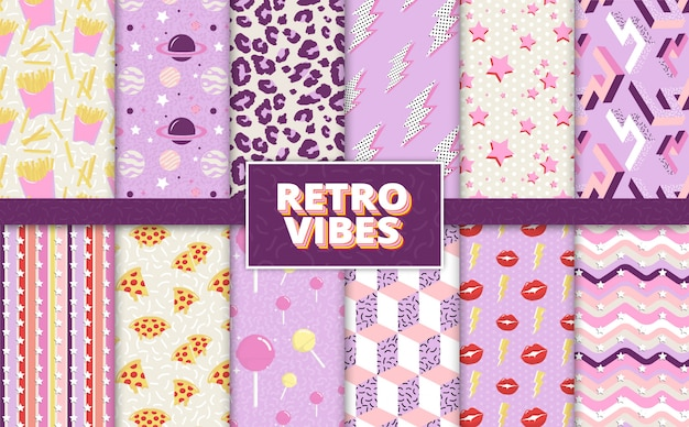 Colorful retro style background patterns back to the 90's