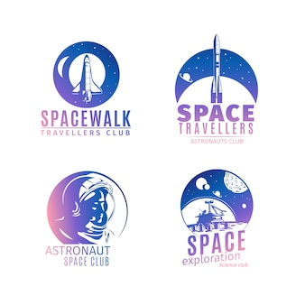 Colorful retro style space logo set