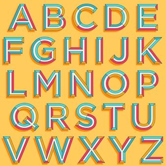 Colorful retro style typography