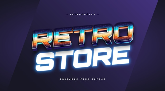 Colorful retro text style and glowing blue neon effect. editable text style effect
