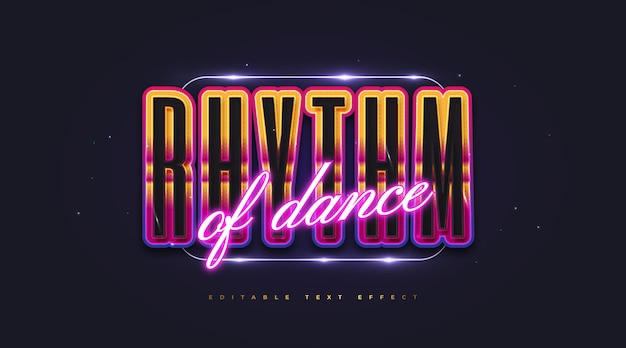 Colorful retro text style and glowing neon effect. editable text style effect