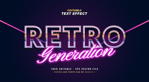 Colorful retro text style and glowing purple neon effect. editable text style effect