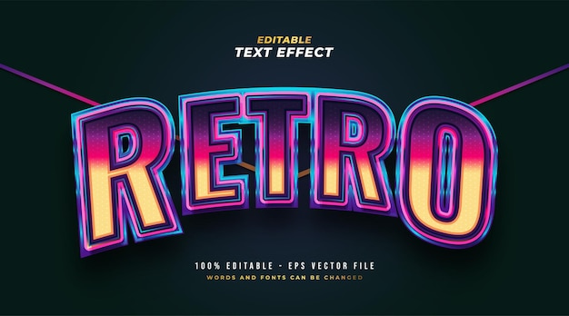 Colorful retro text style with 3d and curved effect. editable text style effect