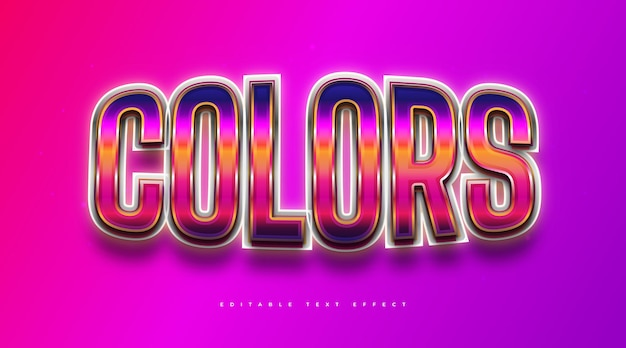 Colorful retro text style with 3d and glowing effect. editable text style effect