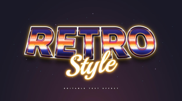 Colorful retro text style with 3d and neon effect. editable text style effect