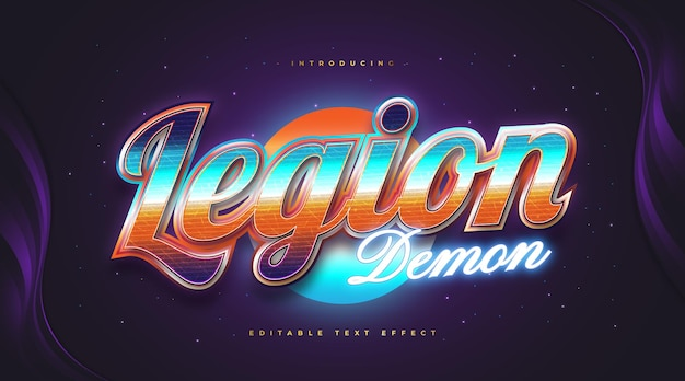 Colorful retro text style with glowing blue neon effect. editable text style effect