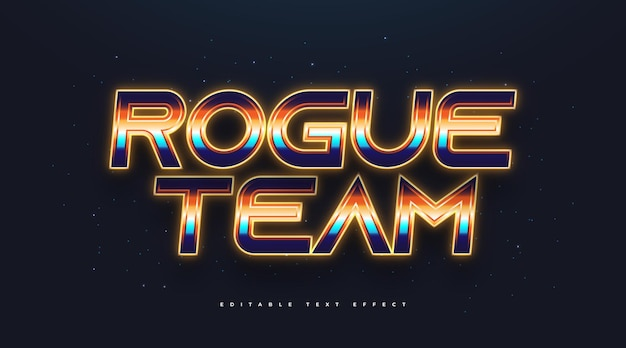 Colorful retro text style with glowing neon effect. editable text style effect