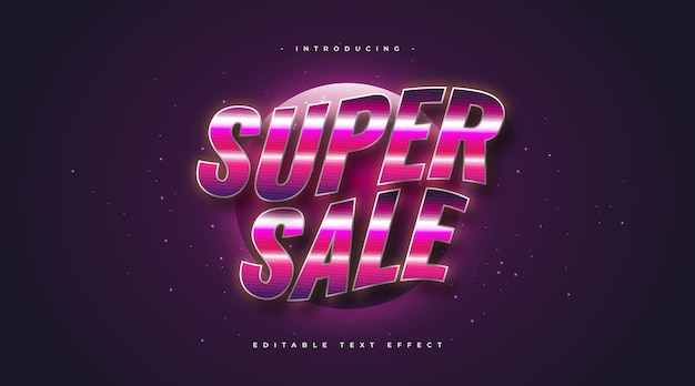 Colorful retro text style with wavy and shiny effect. editable text style effect
