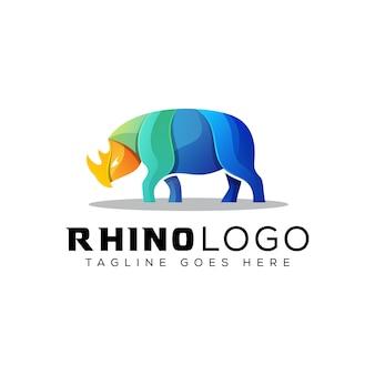 Colorful rhino logo, animal strong color logo
