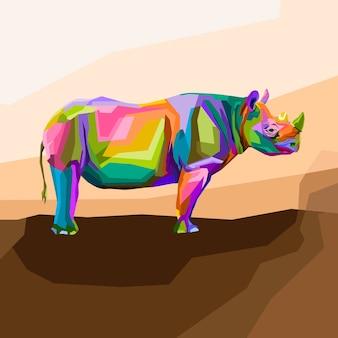Красочный портрет носорога поп-арт