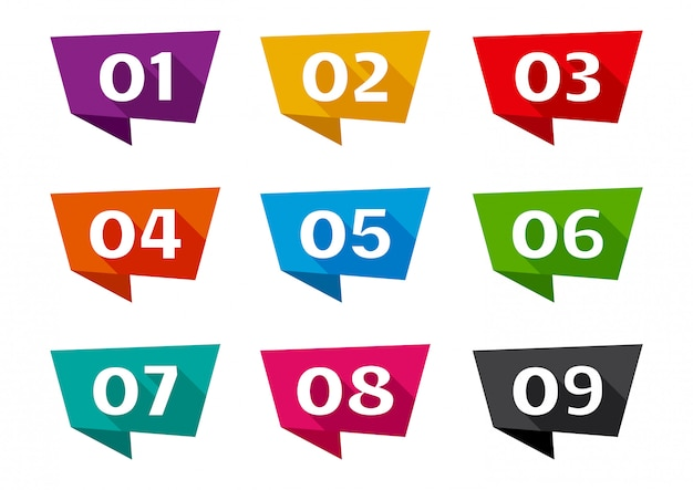 Colorful ribbon banner font numbers from 01 to 09.