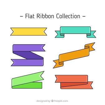 Коллекция красочные ленты в плоской конструкции