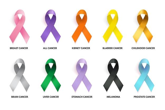 カラフルなリボンコレクションセット。がんの兆候。ベクトルイラストeps10