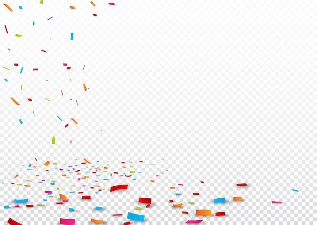Colorful ribbon and confetti, isolated on transparent